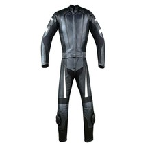 New Men's 2PC Motorcycle Riding Racing Leather 2 PC Suit w Padding & Hump - $149.24
