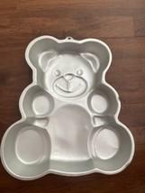 Vintage 1982 Wilton Huggable Teddy Bear Silver Cake Pan 502-3754 - $6.79