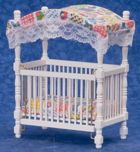 White Canopy Baby Crib Print Canopy & Mattress 1:12 Scale  Dollhouse Min... - $22.99