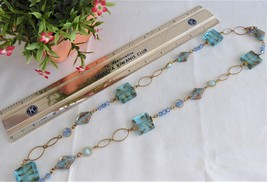 Blue Art Glass Necklace Turquoise Squares Gold Wrapped Rondelles Gold Links 28 - $28.00