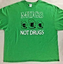 """DELTA """"MUGS NOT DRUGS"""" UNISEX MEN OR WOMEN'S LARGE GREEN COTTON POLY T-S... - $10.97"""