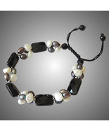 Black Onyx Bracelet with White and Black Pearls, elegant one of a kind - $85.00