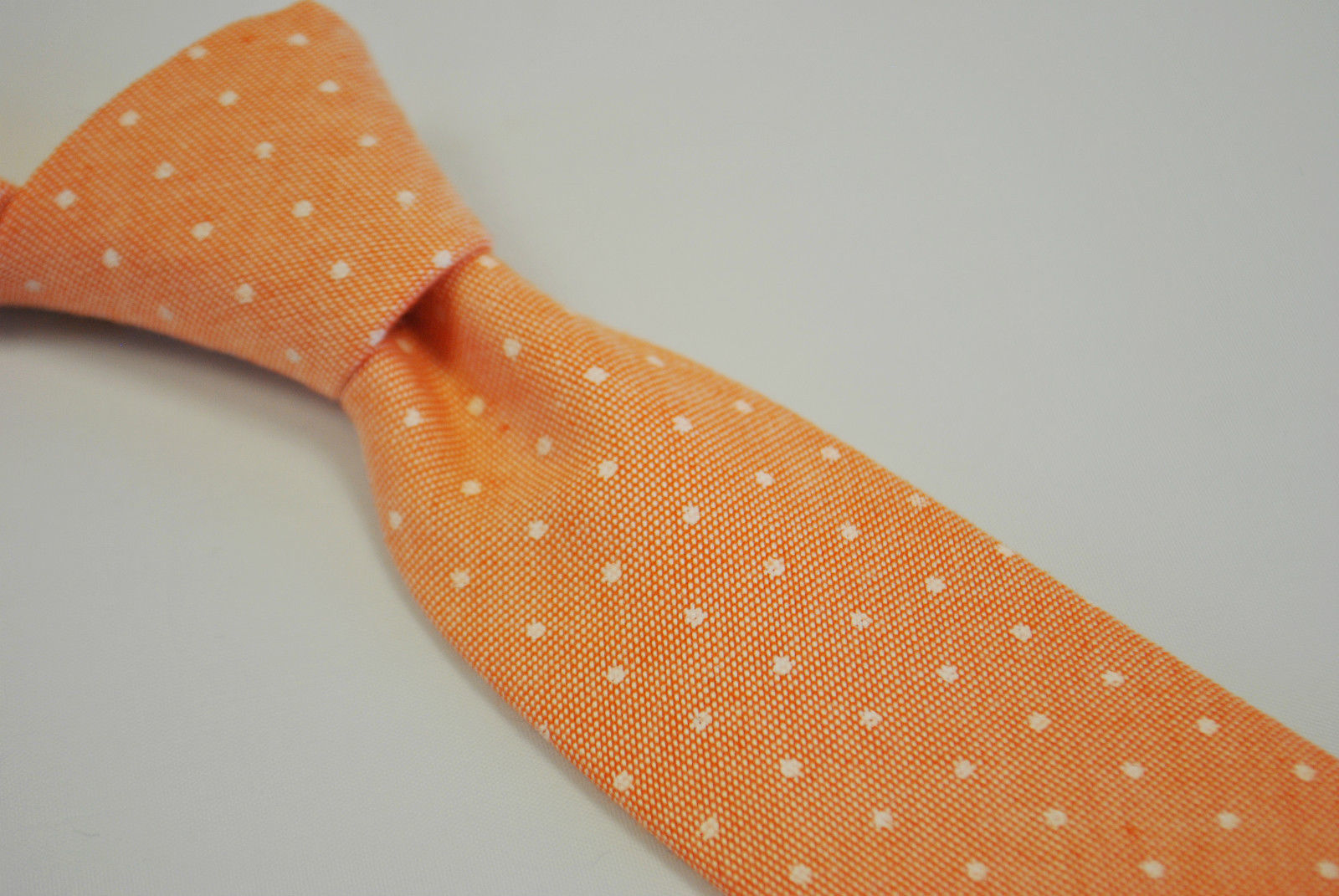 Frederick Thomas color pesca/arancione a macchie Cravatta 100% biancheria cotone