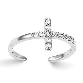 Primary image for Lex & Lu Sterling Silver CZ Cross Toe Ring
