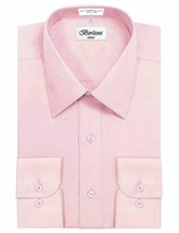 Berlioni Italy Men's Long Sleeve Solid Pink Dress Shirt w/ Defect Size L