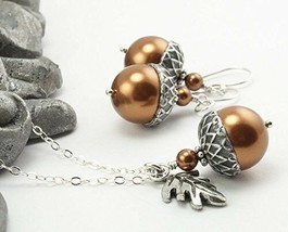 Acorn Jewelry Set with Oak Leaf Charm. Copper Colored Simulated Pearls b... - $64.30