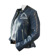 New Woman Blue Diamond Quilted Genuine  Sheep Skin Biker Leather Jacket ... - $59.99+