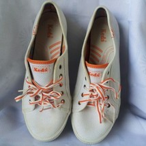 Vintage Keds White-Orange Canvas  Cushioned Insole Sneaker Shoes Size 9 - $39.60