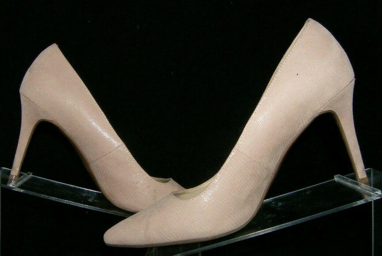 Jessica Simpson 'Laenie' pink leather textured pointed toe slip on heels 9M