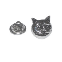 3d Cat Face pin badge, Lapel Pin Badge / tie pin. in gift box silver plated