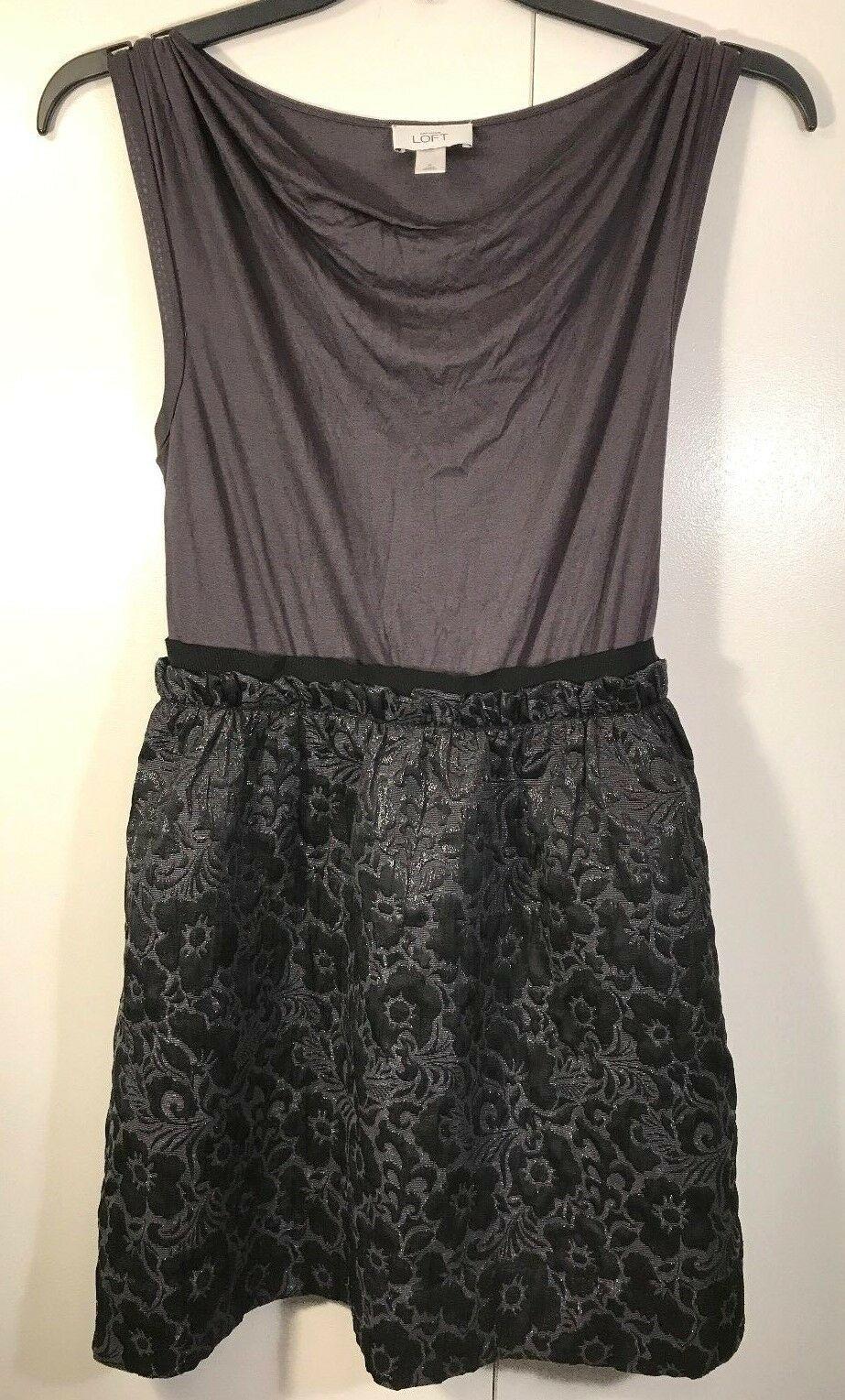 Ann Taylor Loft Gray Sparkle Black Shirt/Skirt Blouson Sleeveless Cowl Dress 4