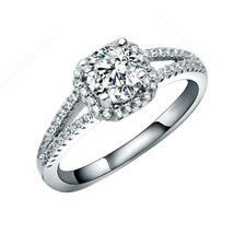 Solid 14K White Gold 1.90 Ct Round Cut Diamond Solitaire Halo Engagement... - $294.99