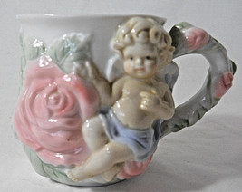 "Avon 1980s mug cupid pink roses raised design 3 1/2""  - $13.78"