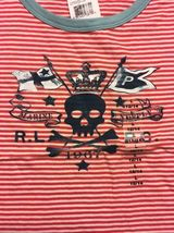 NWT Ralph Lauren Girl's Red Striped Blue Trim Pirate Shirt Size Large 12/14 image 4