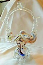 Vintage Art Glass Hand Blown Crystal Multi Color Specks Basket - $125.00