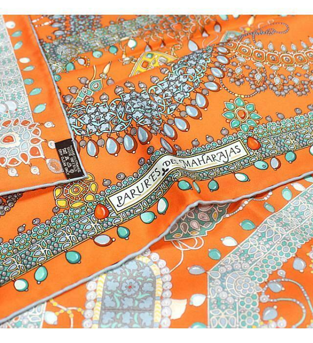 Hermes Scarf Stole PARURES DES MAHARAJAS Catherine Baschet Orange Jewelry New