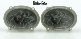 Swank Vintage Intaglio Cufflinks  Bavarian Crystal Leda and the Swan Mid Century - $179.00