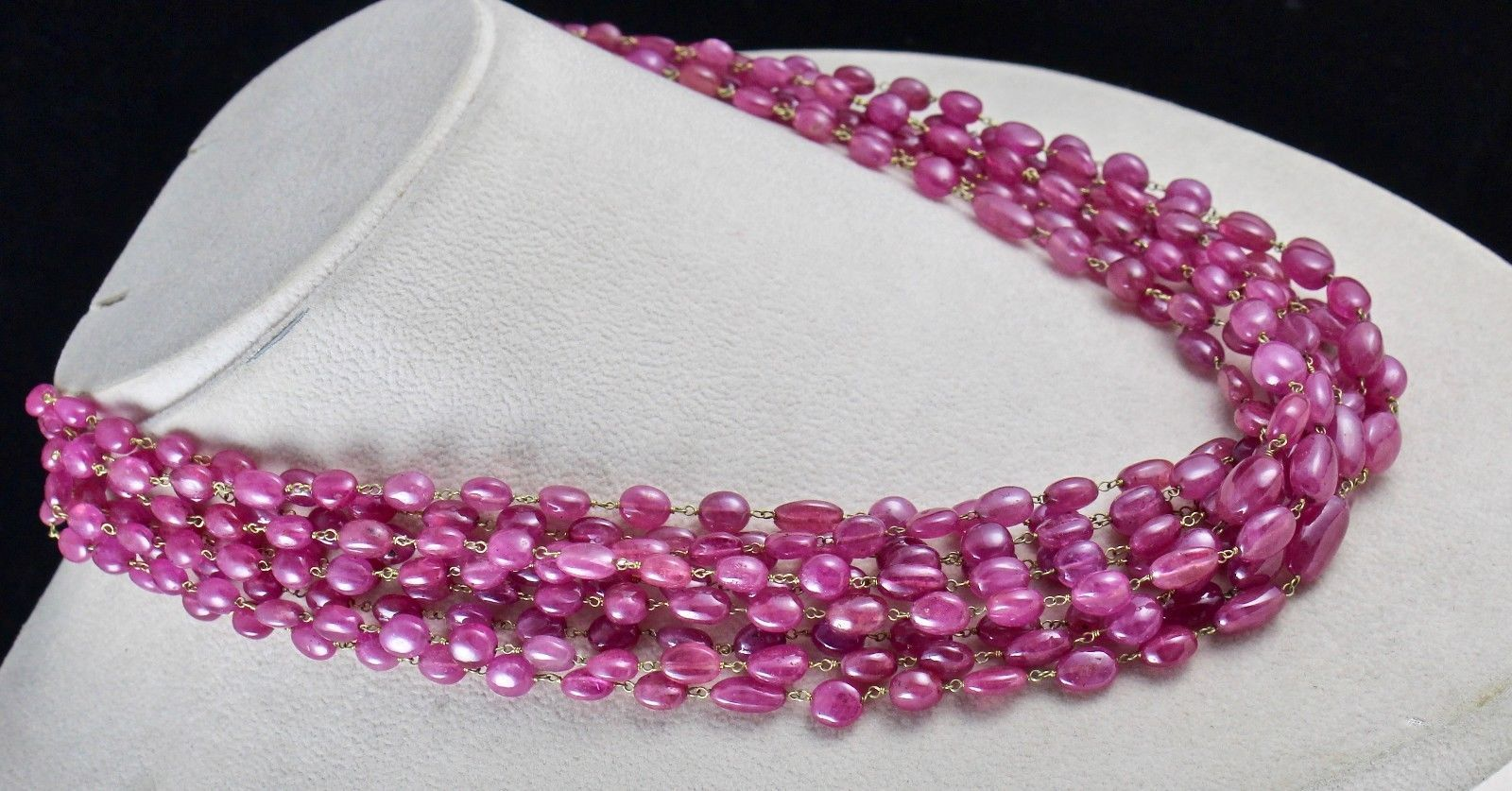 PINK RUBY BEADS CABOCHON 9 LINE 780 CARATS GEMSTONE 18K GOLD LADIES NECKLACE image 5