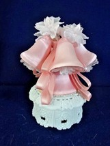 Vintage Wilton Wedding Cake Topper Pink Wedding Bells White Floral Trell... - $23.64