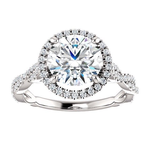 3.00 Carat F VVS2 Natural Diamond Solitaire Halo Ring in 14k Gold