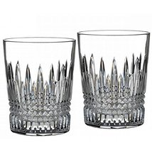 WATERFORD LISMORE DIAMOND VERRE CRYSTAL DOF SET/2 CRYSTAL MADE IN SLOVEN... - $199.75