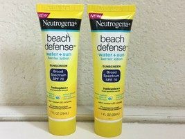 Set Of 2 Brand New 1OZ Neutrogena Beach Defense Sunscreen Broad Spectrum Spf 70 - $23.65