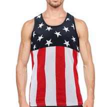 Men's USA American Flag Sleeveless Shirt Summer Beach Patriotic Tank Top image 2