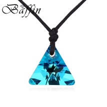 with swarovski elements crystal triangle pendant necklace with rope chain no clasp for thumb200