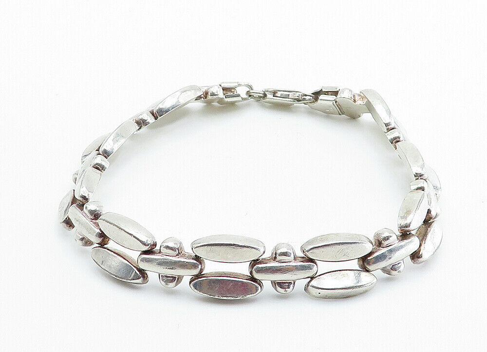 925 Sterling Silver - Vintage Shiny Smooth Two Row Link Chain Bracelet - B6003 image 2
