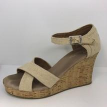 TOMS Cork Wedge Sandal Womens Sz 10 Burlap Canvas Strappy Crisscross Ank... - $26.38