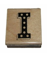 Letter I Rubber Stamp New Initial Polka Dots Marquee Alpha Wood Mounted ... - $3.87