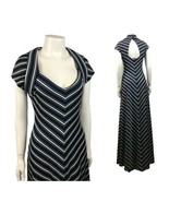 1970s Stripe Maxi Dress / Blue and White Chevron Stripe Long Dress / Small - $69.00
