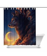 InterestPrint 3D Big Fox with Clouds Form and Moon Waterproof Shower Cur... - $33.65