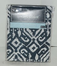 Living Logic Indy Brush Nickel Grommet Top Panel Navy White Color 50W x 84L image 2