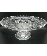 "c1910-14 No. 157 BIRD AND STRAWBERRY Indiana Glass CLEAR CAKE PLATE 9"" wide - $44.99"