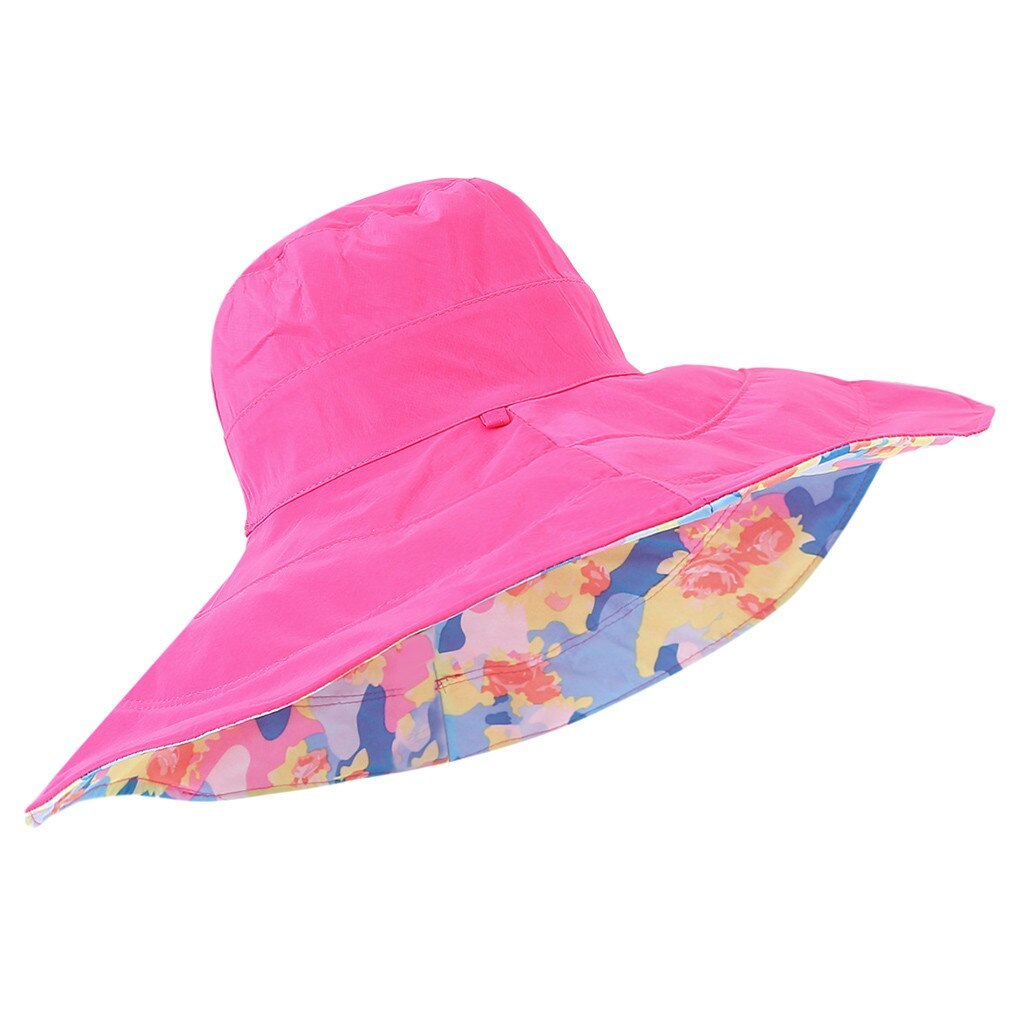 chapeau femme ete Women's Summer Hat Casual Solid Wide Brimmed Floppy Foldable B image 3