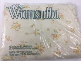 Vtg 60s Wamsutta Superlin Twin Fitted Sheet 39x75 Yellow Floral *READ* - $31.68