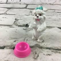 Barbie Dollhouse Pet Puppy Dog White Long Haired Animal PVC Figure W/Dis... - $9.89