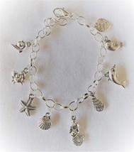 Ocean Fantasy Beach Theme Charm Bracelet Handcrafted  + Organza Roses Gi... - $15.99