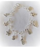 Ocean Fantasy Beach Theme Charm Bracelet Handcrafted  + Organza Roses Gift Bag  - £11.56 GBP