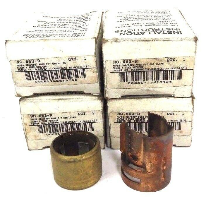 LOT OF 4 COOPER BUSSMANN 663-R FUSE REDUCER KITS 30AMP, 600VAC FIT 60AMP
