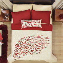Red with Beige Floral Tokio Reversible Comforter Set by Vianney - £54.53 GBP+