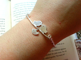 Silver Love Birds Bracelet Kissing Birds Baby Bird Bracelet Bird Family ... - $30.00