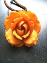 Amber Butterscotch Bakelite Deeply Carved Rose Flower Pendant 1920s Art ... - $97.20