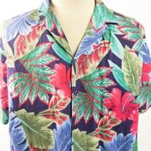 Hilo Hattie Vtg Hibiscus Floral XL Red Blue Green Hawaiian Aloha Shirt - $39.59