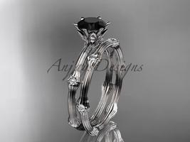 Platinum  diamond vine wedding ring set , Black Diamond , ADLR38S - $2,720.00