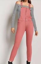 Forever 21 Denim Blush Pink Bib Jean Skinny Leg Snap Button Overalls 27 ... - $24.07