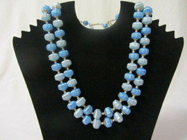 """VINTAGE 2 STAND BLUE BEADS w/ PEARL SEPARATORS 16-1/2"""" NECKLACE COSTUME ... - $4.99"""