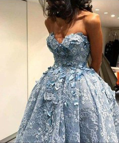 S light blue embroidery dress sweetheart neckline strapless beautiful prom dress embellished  1