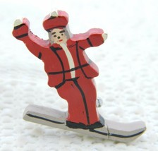 VTG Wooden Lacquered Painted Ski Skier Pin Brooch - $19.80